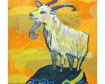 year of the Goat ... giclee art print • animal • ram • portrait • lunar new year • mountain • orange • blue • yellow • pattern • sunset
