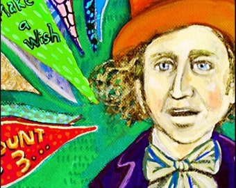 Ode to Willy Wonka ... singing Pure Imagination ... Charlie and the Chocolate Factory inspired ... print by elloh