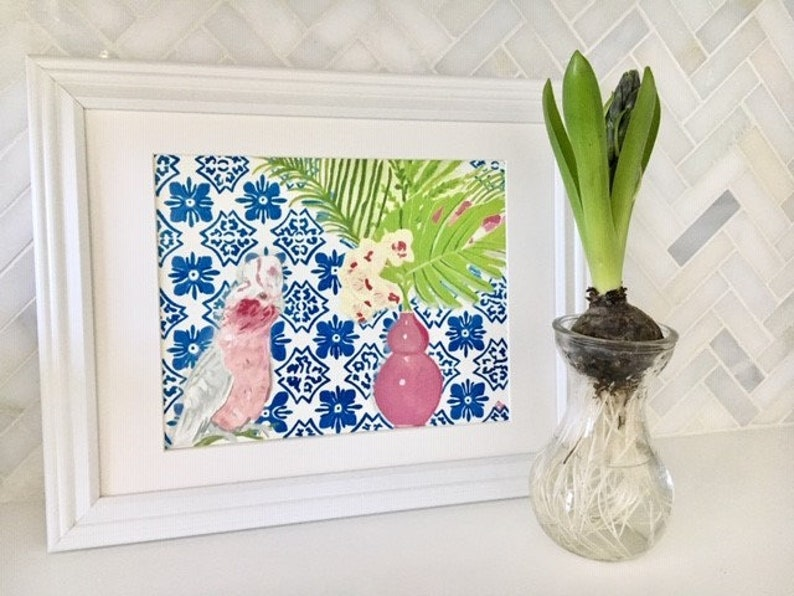 PINK PARROT and PORTUGESE Tiles Print image 0