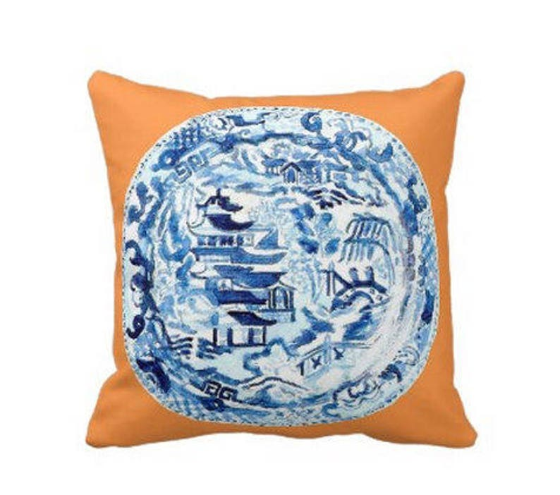 CHINOISERIE PLATE Pillow 4 sizes   indoor and outdoor image 0
