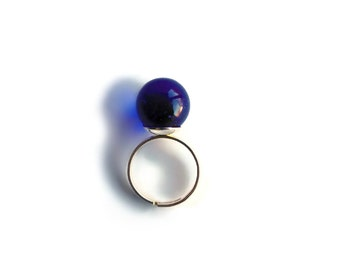 Deep Blue Ball Ring, Marble, Cocktail, Statement, Womens, Bold, Bridesmaid Ring, Adjustable Ring, Sea Glass Marble, Gifts for Her