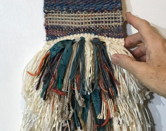 """Hand Woven Tapestry 5"""" x 19"""" in Blue Color Mix of Hand Dyed Hand Spun Wool & Silk, Cotton, Fabric Strips, Copper Rod"""