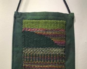 """Green Cotton Shoulder Bag with Hand Woven Landscape Applique 6 1/2"""" x 9 1/2"""" + 52"""" Strap"""