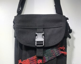 """Black Canvas Military Document Bag with Hand Woven Frida Kahlo Embellishments 7"""" x 9"""" + adjustable strap"""