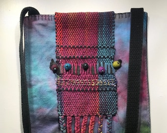 """Hand Dyed Cotton Shoulder Bag with Hand Woven Hand Dyed Woven Applique 10"""" x 11"""" + 50"""" Strap"""