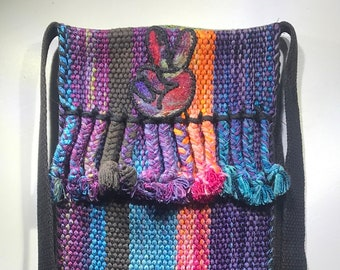 """Hand Woven Hand Dyed Silk Peace Signs Bag with Fringe 7"""" x 12"""" x 1"""" + 52"""" Strap"""