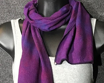 """Hand Dyed Tussah Silk Scarf 8"""" x 54"""" Purples Bali Silver Beads"""