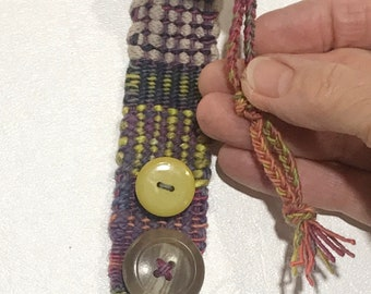 Hand Woven Hand Dyed Bracelet Hand Spun Wool and Silk Yarns, Cotton, Silk, Wool, Vintage Buttons Multicolored