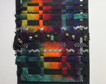 """Hand Dyed Felt Woven Tapestry Skull, Heart, and Star Charms Silver and Black Ric Rack 7"""" x 9"""""""