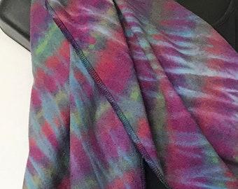 "Hand Dyed Shibori Resist Tie Dye Tussah Silk Scarf in Multicolors 10"" x 72"""