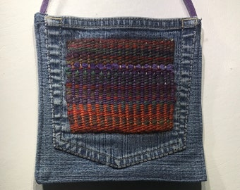 """Small Denim Shoulder Bag with Hand Woven Hand Dyed Tapestry Applique 6 1/2"""" x 6 1/2"""" with 52"""" Purple Cotton Strap"""