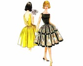 1960s Bare Back Dress McCalls 5770 Vintage Sewing Pattern Rockabilly Dress with Attached Petticoat Size 10 Bust 31