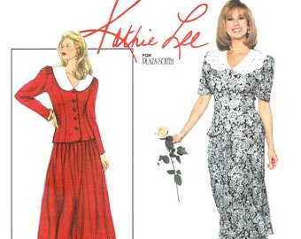 90s Simplicity Sewing Pattern 9613 Kathie Lee Womens Two Piece Dress or Jacket and Skirt Size 18 20 22 Bust 40 42 44 FF Vintage Patterns
