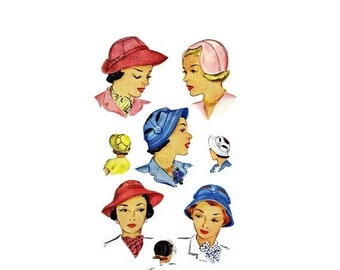 SALE 1940s Ladies and Misses Hats in Three Styles McCall 1506 Vintage  Sewing Pattern Size 22 423703ba4d0