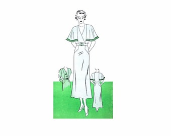 1930s Womens Art Deco Cape Sleeve Dress Womans World 5867 Vintage Sewing Pattern Bust 44 FACTORY FOLDED