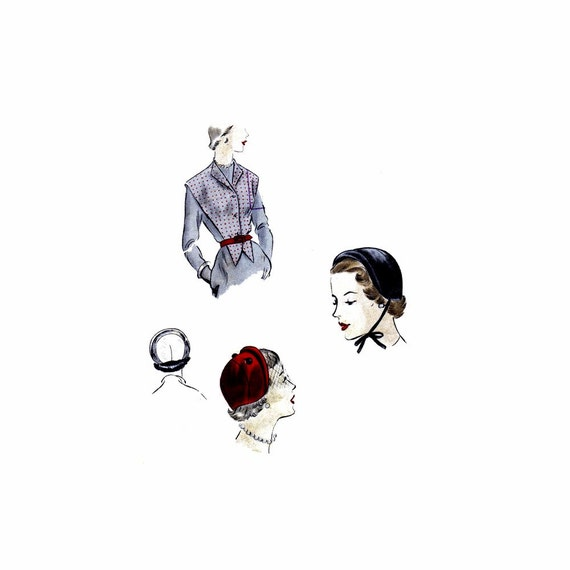 1950er Jahre Hut und Gilet Vogue 6894 Vintage Nähen Muster | Etsy