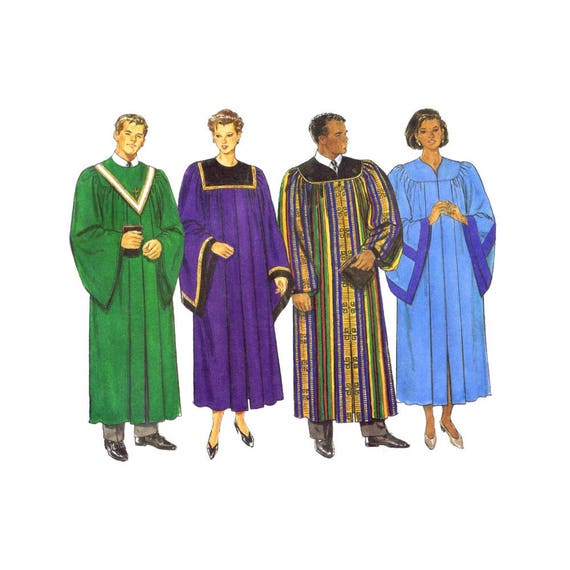 Religious Robe and Collar Choir Minister Graduation Gown Butterick ...