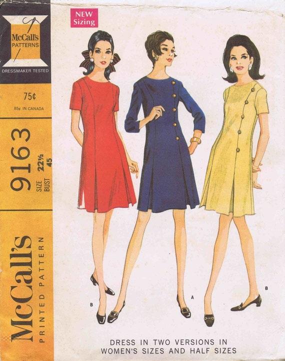 1960s Inverted Pleat Dress McCalls 9163 Vintage Sewing Pattern Full Figure Half Size 22 12 Bust 45 UNCUT