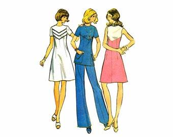 1970s Misses Dress Tunic Pants McCalls 3556 Vintage Sewing Pattern Size 12 Bust 34 UNCUT