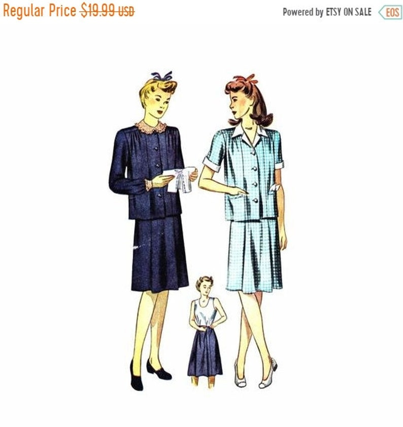 d0c735daf3650 SALE 1940s Maternity Dress Blouse Skirt Simplicity 4794 | Etsy