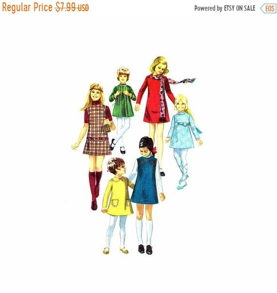 SALE 1970s Girls Dress or Jumper Simplicity 8941 Vintage Sewing Pattern Size 12 Breast 30