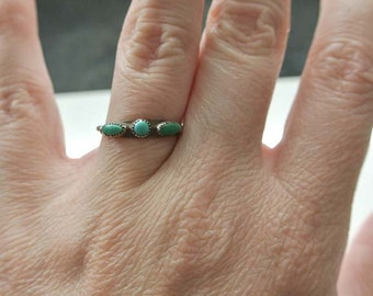Vintage Turquoise and  silver ring Size 5 3/4 SALE