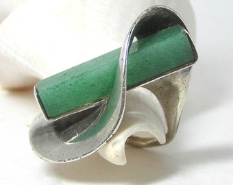 Green and Silver Modernist French Ring SALE