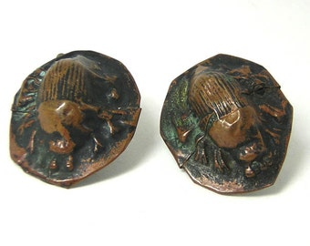 Arts and Crafts Vintage Beetle Copper Cufflinks SALE