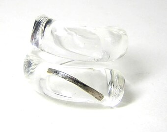 Glass Spiral Ring with Platinum SALE
