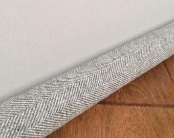 LIGHT gray wool draft snake / custom size draft stopper / washable gray herringbone door draft stopper