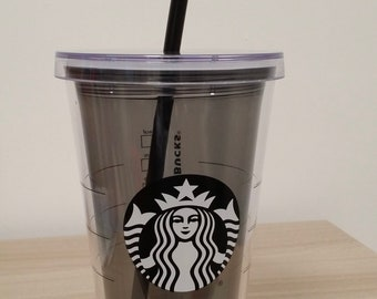 Plastic double wall clear grey 16 oz Cold Cup  Starbucks becher Starbucks clear plastic PBA Free cold cup