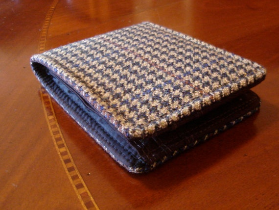 Mens wallet slimline wool Green Houndstooth Tweed minimalist Bifold 7 Pocket Checkered Billfold
