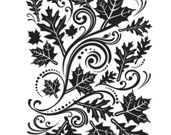 FALL LEAF Swirl 4.25x5.75 Darice Embossing Folder Autumn Maple Leaves 1218-33