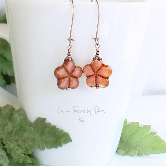 Boho Flower Gourd Copper Earrings