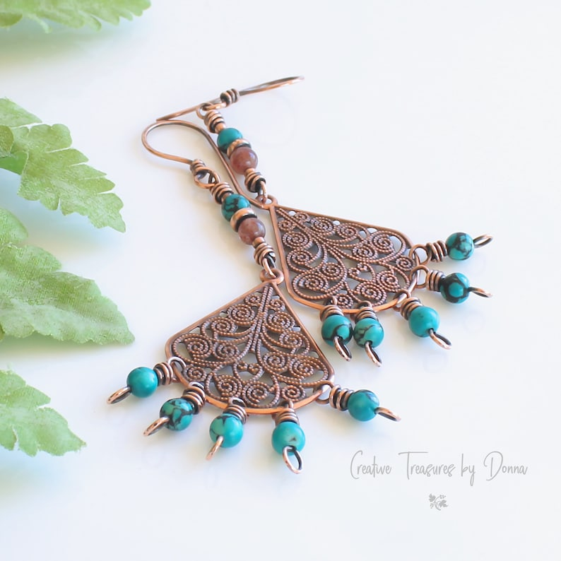 Copper Earrings Rustic Earrings Southwest Earrings Gift For Her Sunstones Chandelier Earrings Turquoise Gemstones Copper Filigree Fan