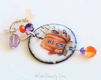 Halloween Pumpkin Pendant, Amethyst Gemstones, Moonstone Stones, Sterling Silver, Fall Pendant, Orange Pumpkin, Enamel Disc, Whimsical