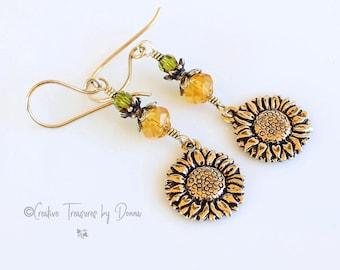 Sunflower Earrings, Gold Plated, Brass Earrings, European Crystals, Czech Glass Beads, Mothers Day Gift, Gift For Her, Hippie Earrings