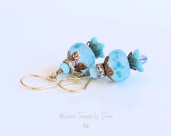 Brass Earrings, Larimar Gemstones, Artisan Lampwork, Fine Crystals, Czech Bell Flowers, Mothers Day Gift, Gift For Her, Rhinestones