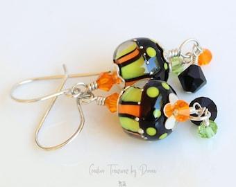 Halloween Earrings, Sterling Silver Earrings, Premium Crystals, Fall Earrings, Orange Green Black, Gift For Her, Crystal Jewelry, Autumn
