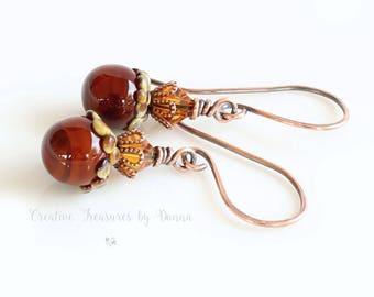 Copper Acorns, Copper Earrings, Brown Rust Acorn Lampwork Headpins, Fine Crystals, Fall Earrings, Autumn Earrings, Fall Jewelry
