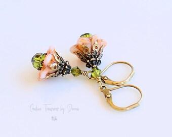 Orange Bell Flowers, Brass Earrings, Czech Glass Flowers, European Crystals, Gift For Her, Fall Earrings, Victorian Earrings, Halloween