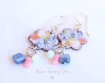 Flower Earrings, Sterling Silver, Enameled Discs, Kyanite  Pink Coral Aventurine Gemstones, Floral Earrings, Gift For Her, Floral Earrings