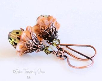 Copper Flower Earrings, Orange Bell Flowers, Premium Crystals, Czech Glass Beads, Victorian Earrings, Gift For Her, Fall Earrings, Autumn