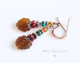 Copper Earrings, Frosted Brown Leaves, Czech Glass Beads, Fall Earrings, Turquoise Gemstones, Bohemian Earrings, Boho Jewelry, Gift For Her