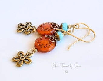 Brass Earrings, Turquoise Gemstone, Czech Glass Beads, Bohemian Earrings, Gift For Her, Fall Earrings, Halloween, Orange and Turquoise
