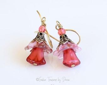 Pink Flower Earrings, Glass Pink Bell Flowers, Pink Tulip Flowers, Brass Earrings, Czech Glass Beads, Fine Crystals, Flower Earrings