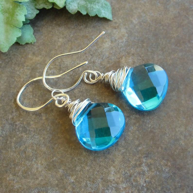 Teardrop Earrings On Sale Sterling Silver Earrings Aqua Blue Teardrops Turquoise Glass Teardrops Teardrop Earrings Wire wrapped