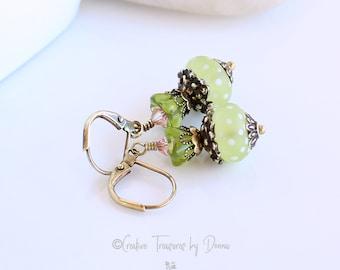 Green Lampwork, Brass Earrings, Fine Cut Crystals, Czech Tulip Flowers, Polka Dot Glass Beads, Gift For Her, Boho Earrings, Spring Earrings