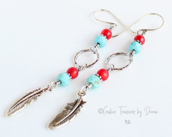 Sterling Silver Earrings, Turquoise Gemstones, Coral Gemstones, Southwest Design, Gift For Her, Valentines Day Gift, Long Earrings