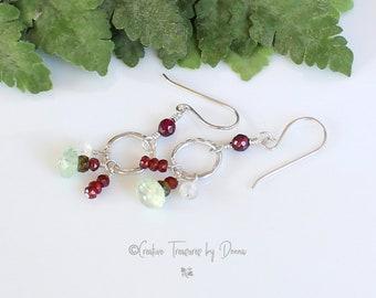 Gemstone Earrings, Sterling Silver, Garnet Prehnite Moonstone Gemstones, Gemstone Jewelry, Stone Earrings, Gift For Her, January Birthstone